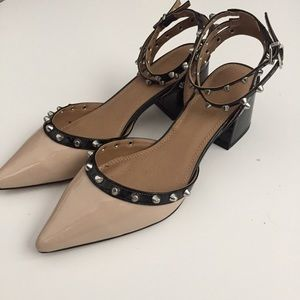 Studded Pointy Toe Strap Heels